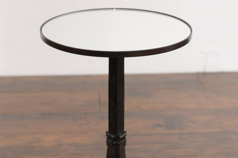 1920s French Iron Base Drink Table with New Mirrored Top and Arched Feet For Sale 6