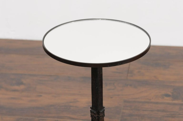 1920s French Iron Base Drink Table with New Mirrored Top and Arched Feet In Good Condition For Sale In Atlanta, GA