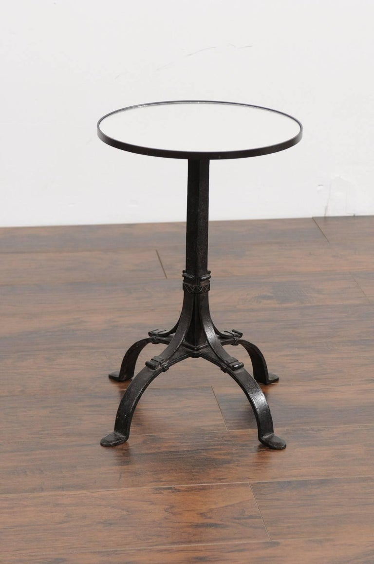 1920s French Iron Base Drink Table with New Mirrored Top and Arched Feet For Sale 1