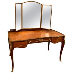 1920s French Kingwood and Mahogany Dressing Table, Louis XV Style