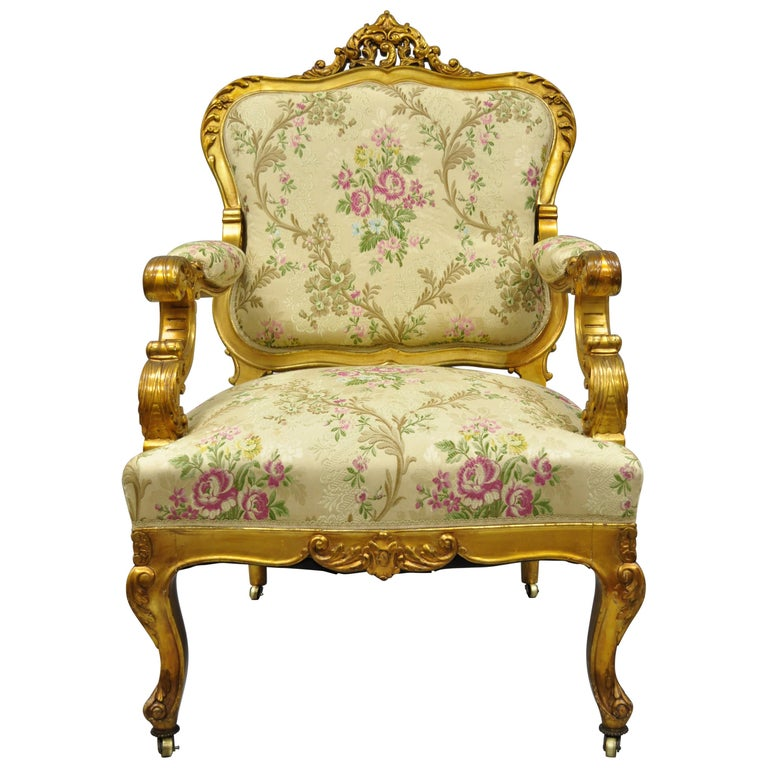 1920s French Louis Xv Rococo Style Gold Gilt Parlor Chair Armchair For