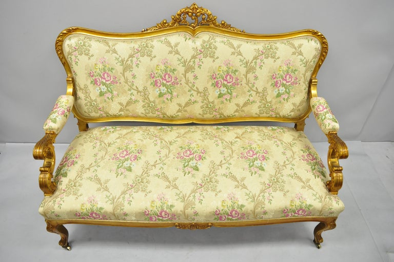 1920s French Louis Xv Style Gold Gilt Settee Loveseat