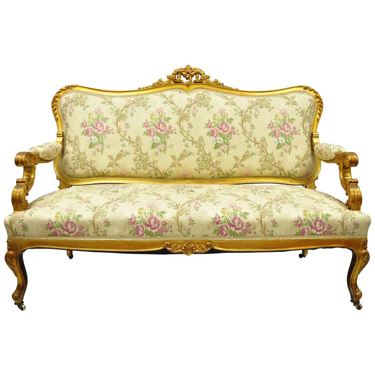 Different Types Of Sofa Settee Sock Arm: 1920s, French, Louis XV Style Gold Gilt Settee Loveseat Sofa For Sale At 1stdibs
