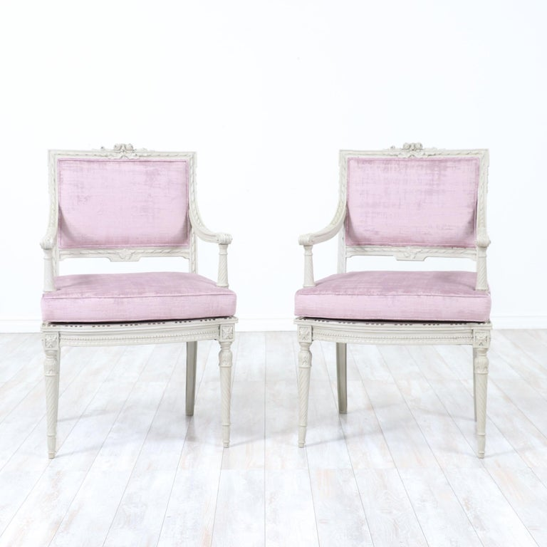 Gorgeous, French 1920s pair of armchairs in the Louis XVI style.