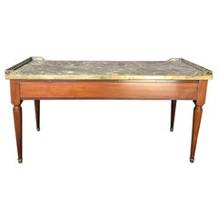 1920s French Louis XVI Style Walnut and Marble Coffee Table