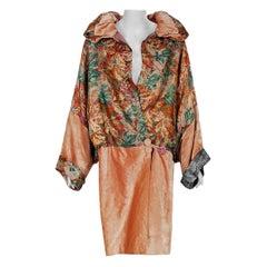 1920's French Metallic Deco-Lame and Pink Silk Velvet Poet-Sleeve Flapper Coat