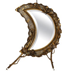 1920s French Naturalistic Brass Crescent Moon Table Top Mirror