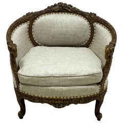 1920s French Neoclassical Style Carved Mahogany Chair with Rams