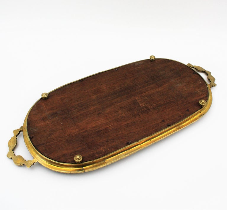 1920s French Neoclassical Bronze & Mirror Oval Serving Tray / Vanity Tray For Sale 11