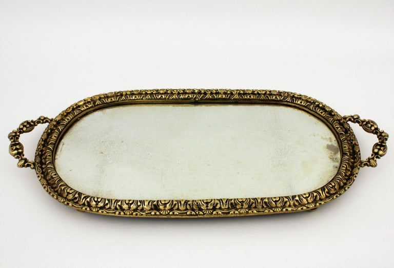 20th Century 1920s French Neoclassical Bronze & Mirror Oval Serving Tray / Vanity Tray For Sale