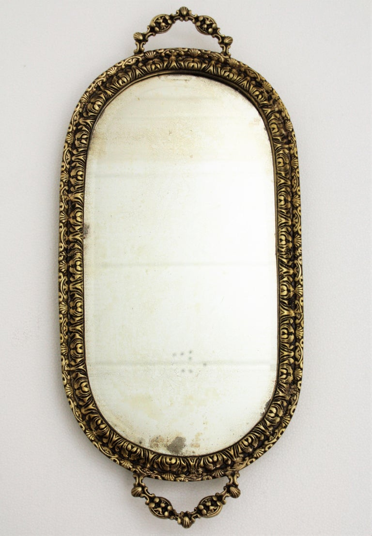 1920s French Neoclassical Bronze & Mirror Oval Serving Tray / Vanity Tray For Sale 2