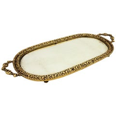 1920s French Neoclassical Bronze & Mirror Oval Serving Tray / Vanity Tray