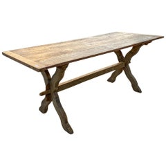 1920s French Oak Trestle Style Farm Table with X-Base Legs