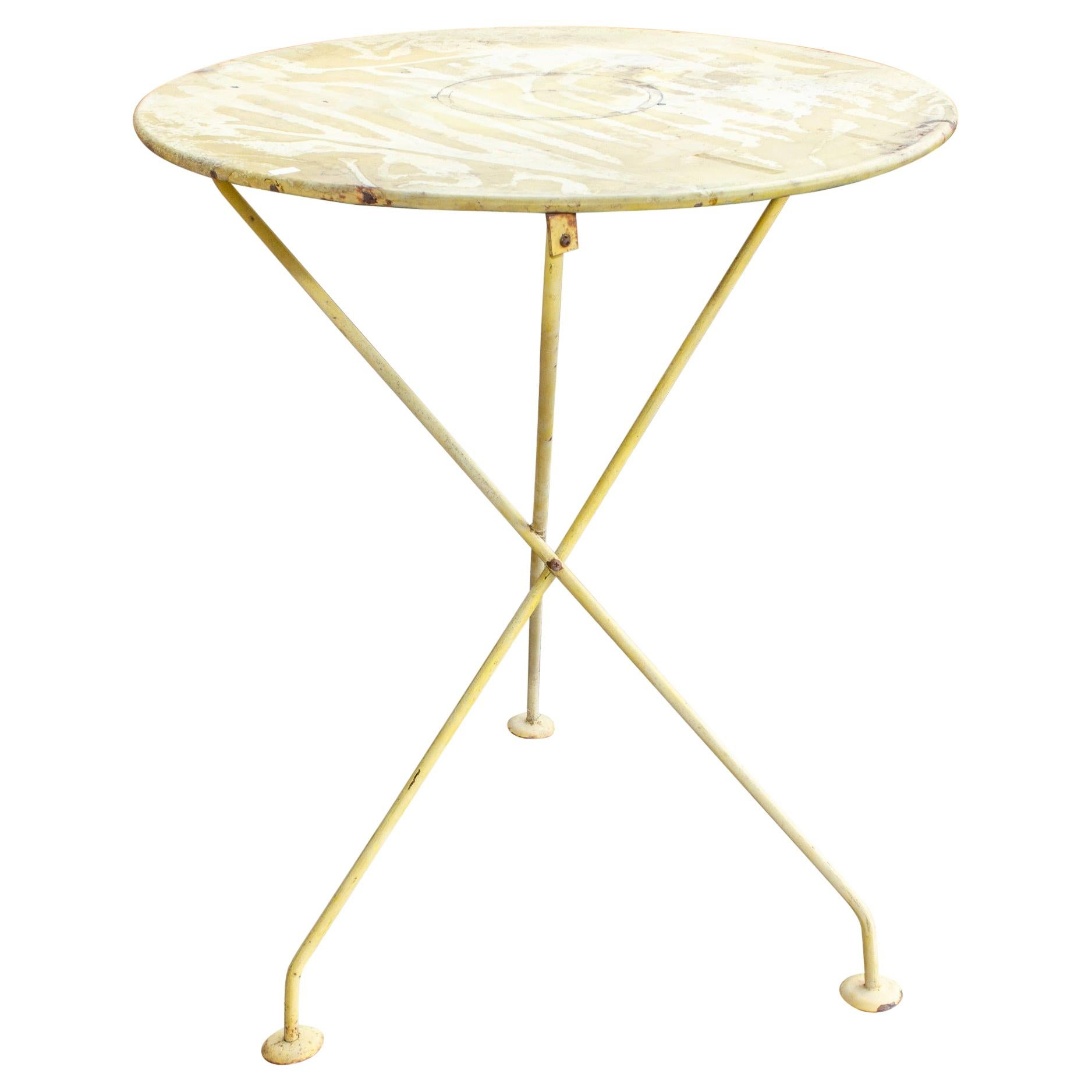 1920s French Painted Metal Garden & Bistro Table