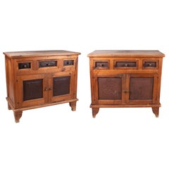 1920s French Pair of Antique Rural Kitchen Cabinets Lined with Metal Sheets