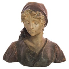 1920s French Plaster Bust Female Figure