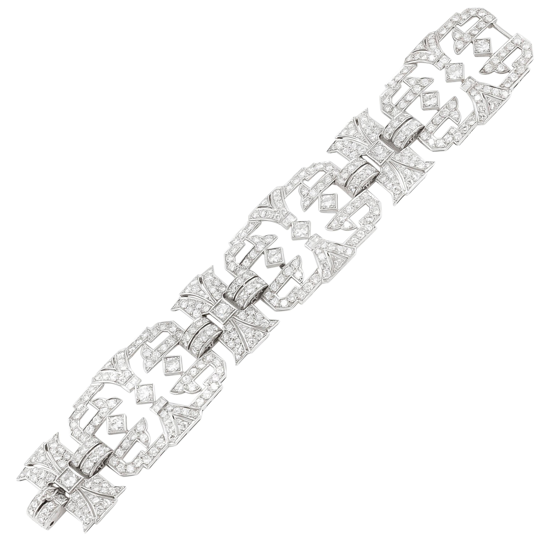 1920s French Platinum Diamond Bracelet