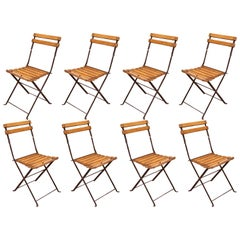1920's French Polished Iron and Wood Folding Garden Chairs, Set of Eight