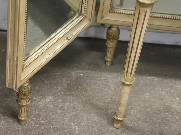 1920s French Provincial Folding Mirror Vanity Table with Onyx Top For Sale 1