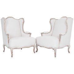 1920s French Provincial Upholstered Bergère Chairs, a Pair