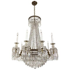 1920s French Regency Crystal and Bronze Chandelier Antique with Hand Cut Crystal