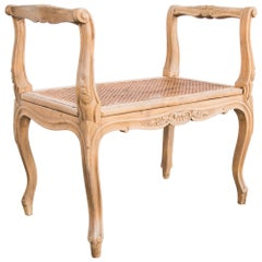 1920s French Rococo Wooden Wicker Bench