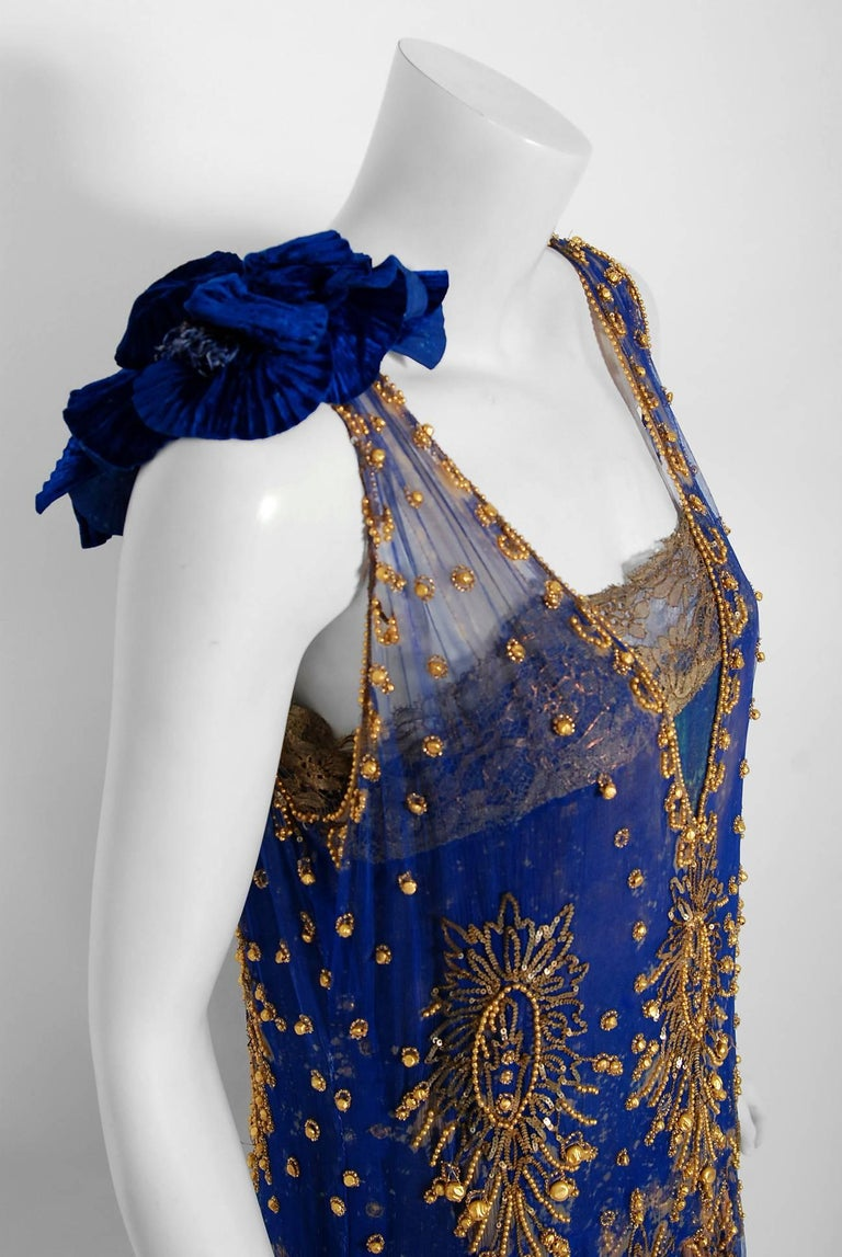 Black 1920's French Royal-Blue Beaded Silk & Metallic Gold Lamé Lace Flapper Dress  For Sale