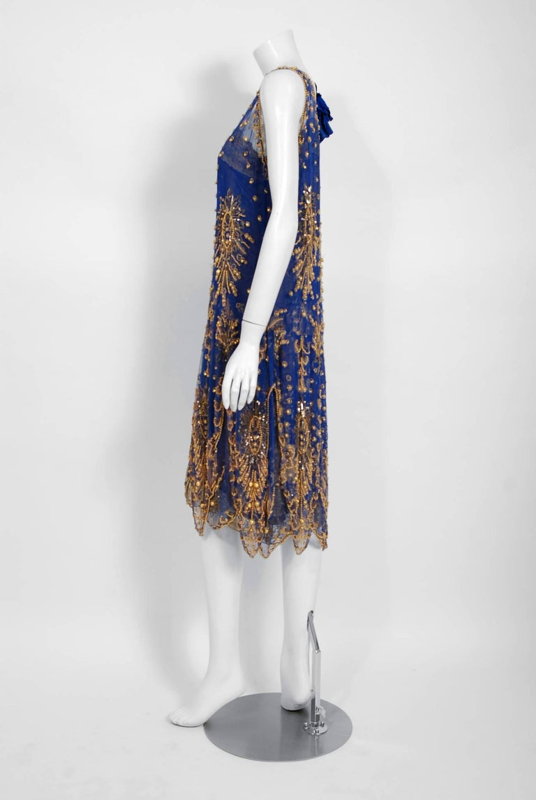 Women's 1920's French Royal-Blue Beaded Silk & Metallic Gold Lamé Lace Flapper Dress  For Sale