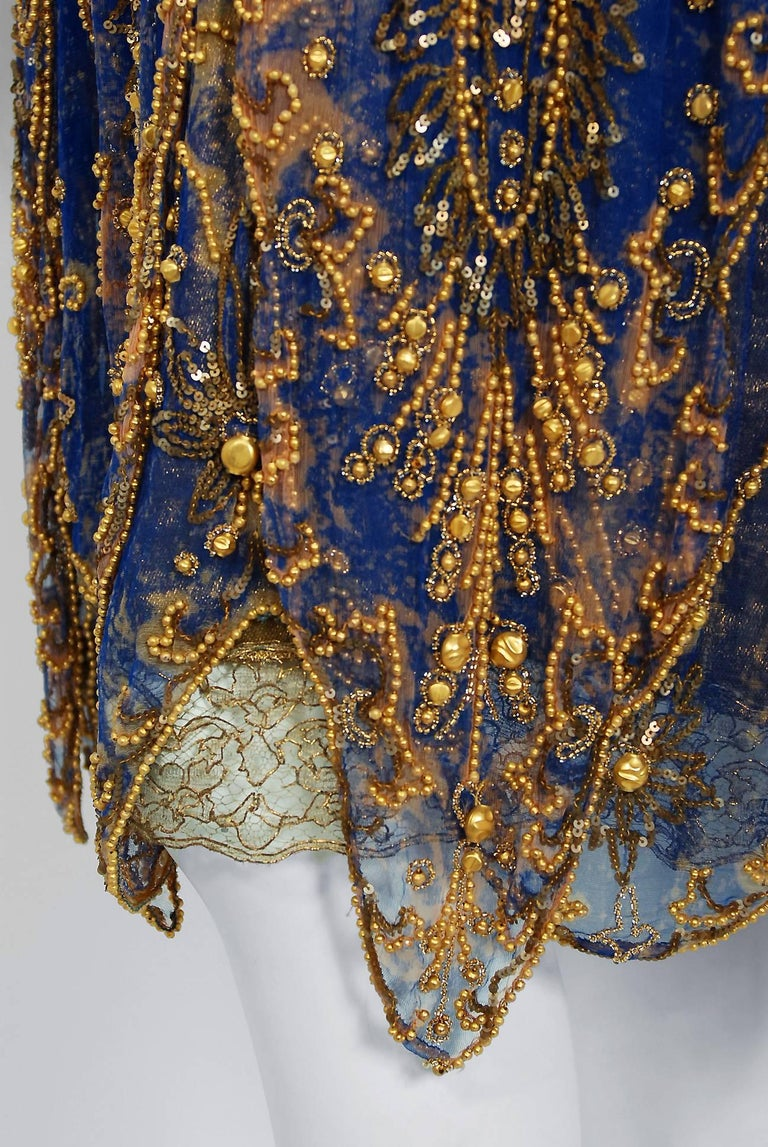 1920's French Royal-Blue Beaded Silk & Metallic Gold Lamé Lace Flapper Dress  For Sale 1