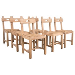 1920s French Rustic Oak Dining Chairs, Set of Six