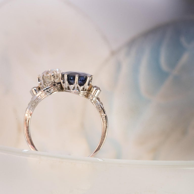 1920s French Sapphire Diamond Gold Toi et Moi Ring For Sale 4