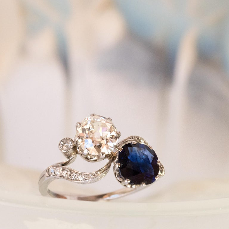 1920s French Sapphire Diamond Gold Toi et Moi Ring For Sale 5