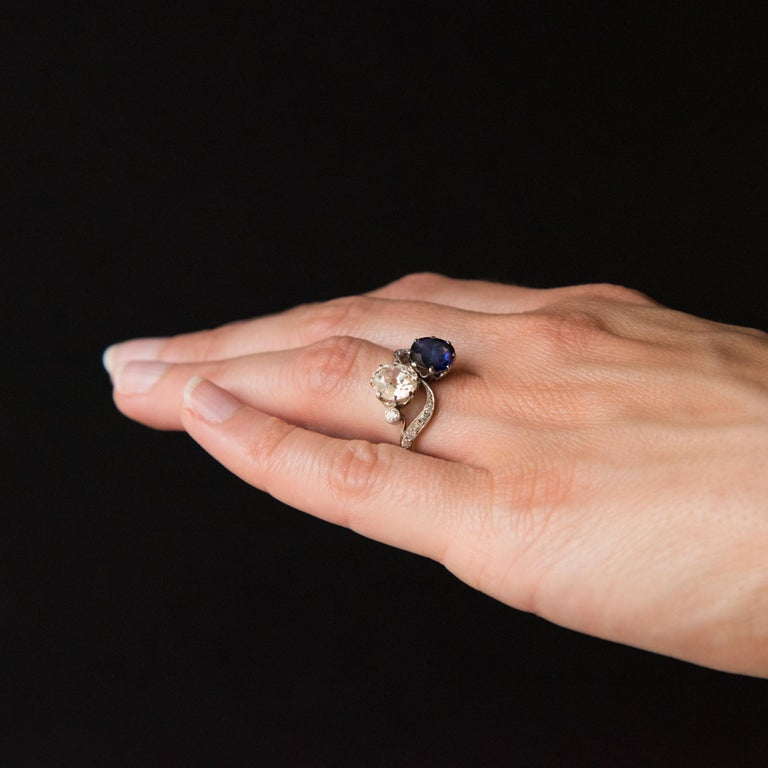 1920s French Sapphire Diamond Gold Toi et Moi Ring For Sale 6