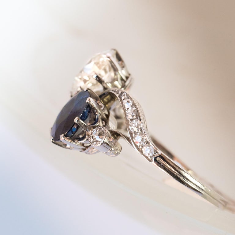 1920s French Sapphire Diamond Gold Toi et Moi Ring For Sale 1