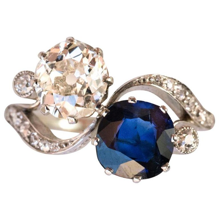 1920s French Sapphire Diamond Gold Toi et Moi Ring For Sale