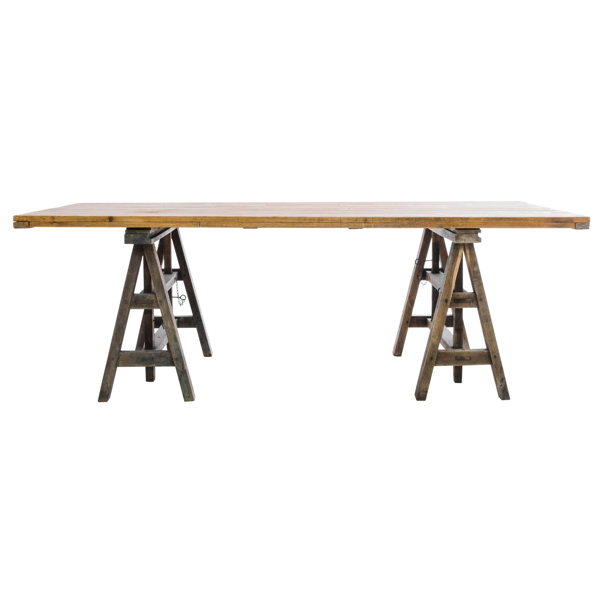 1920s French Sawhorse Table