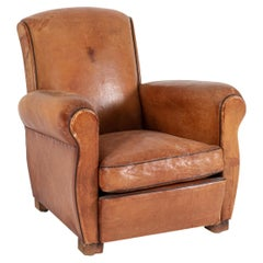 1920's French Tan Leather Club Armchair