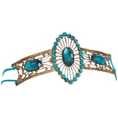 1920's French Teal Blue Jeweled Gold Brass Art-Deco Flapper Headpiece