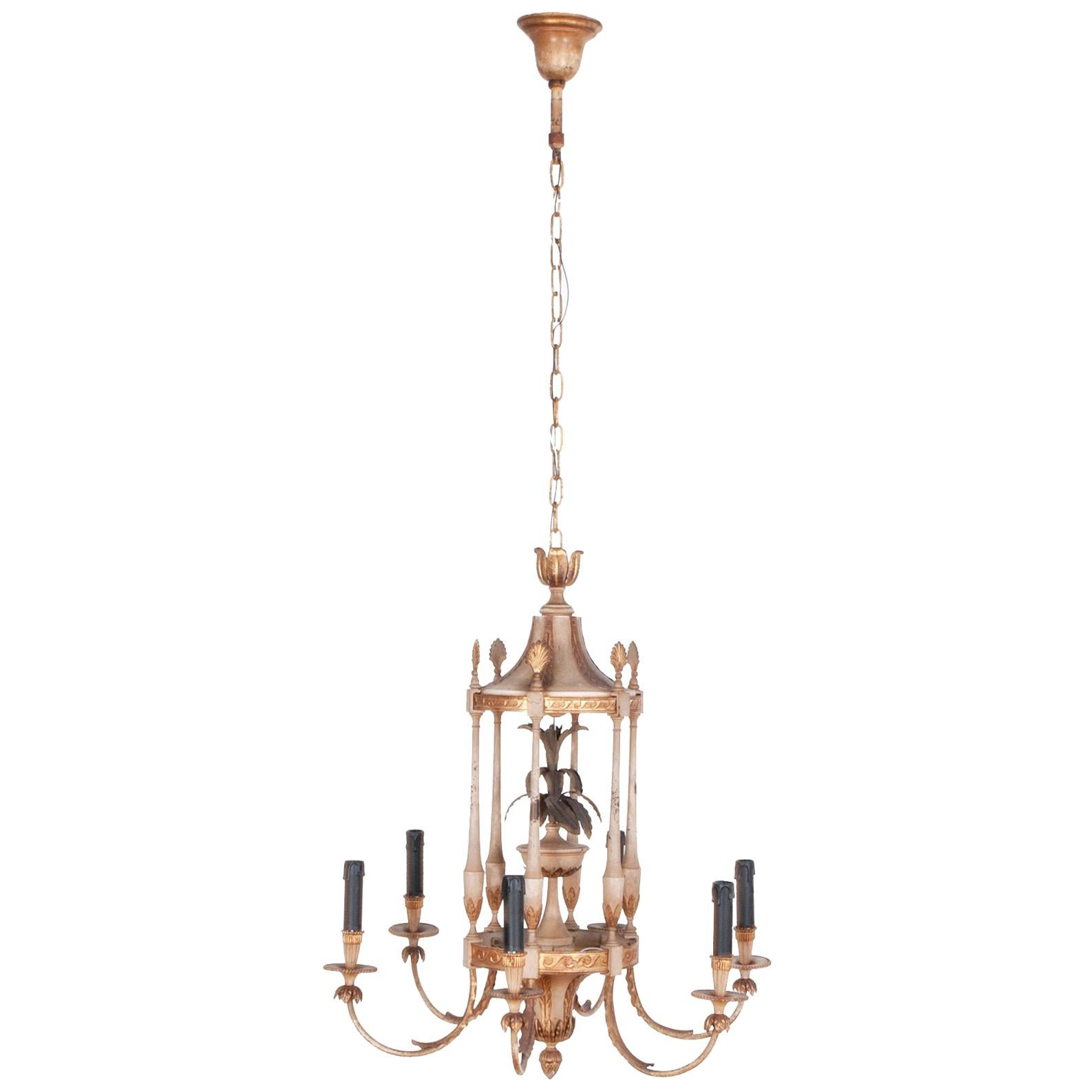 1920s French Tole Gilded Chandelier