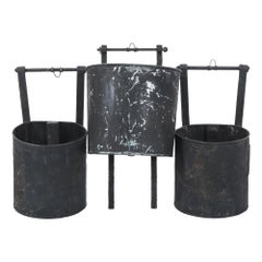 1920s French Wall Hanging Metal Bucket