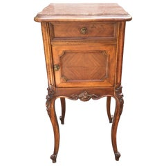 1920s French Walnut Side Table with Marble Top