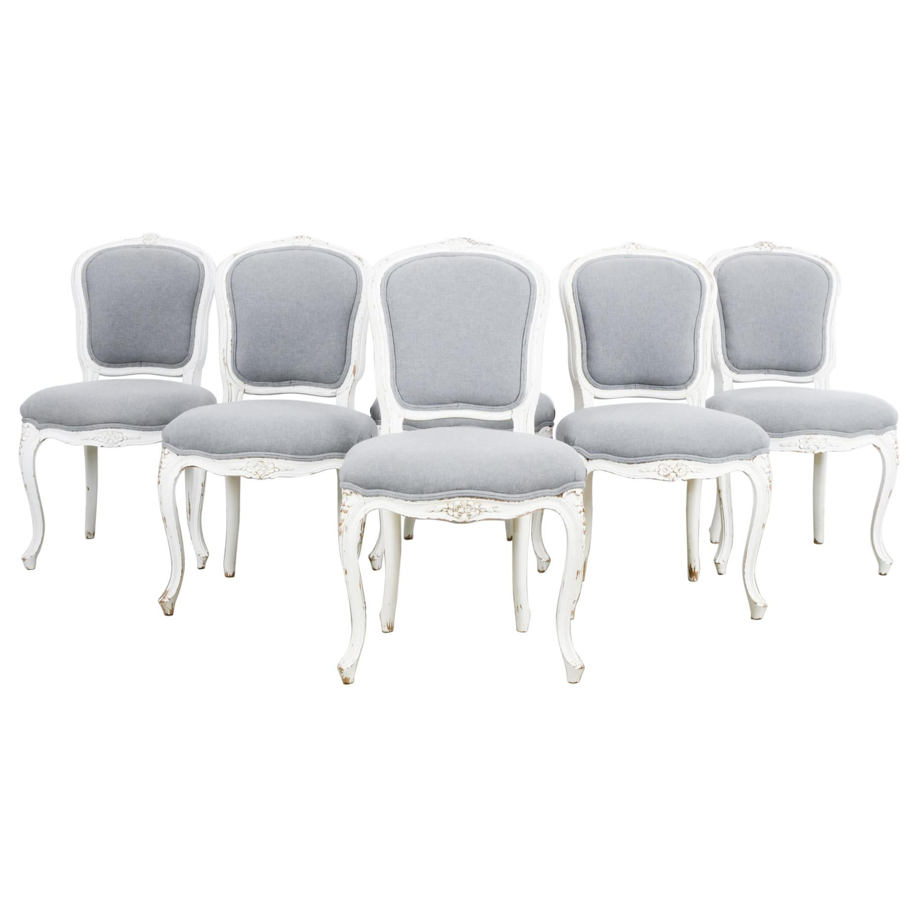 1920s French White Dining Chairs, Set of Six