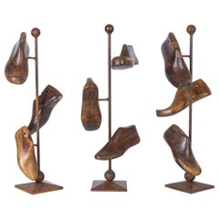 1920s French Wooden Shoe Lasts on Stand, Set of Three