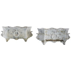 1920s French Wreath Cast Iron Planters, a Pair