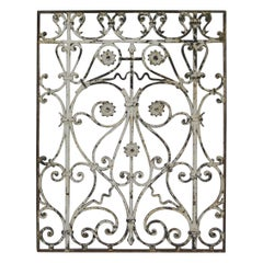 1920s French Wrought Iron Garden Gate with Floral Details