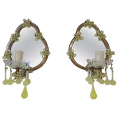 1920s French Yellow Opaline Murano Glass Mirrored Sconces