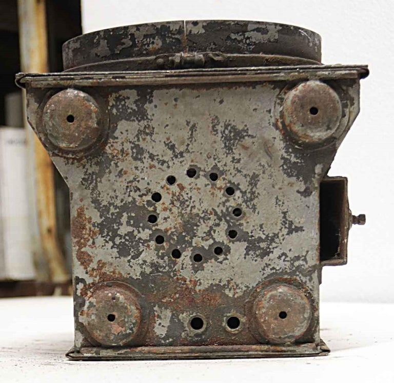 1920s Galvanized Steel Railroad Spotlight Made by Peter Gray & Sons, Boston For Sale 4