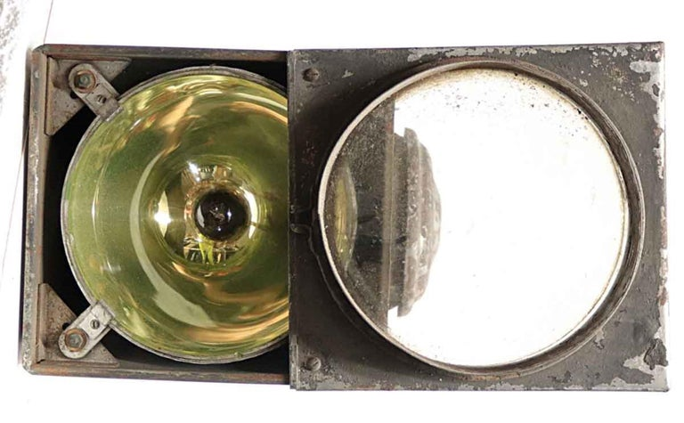 American 1920s Galvanized Steel Railroad Spotlight Made by Peter Gray & Sons, Boston For Sale