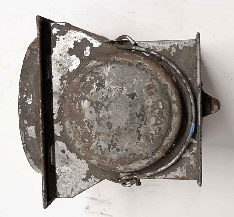 1920s Galvanized Steel Railroad Spotlight Made by Peter Gray & Sons, Boston For Sale 3