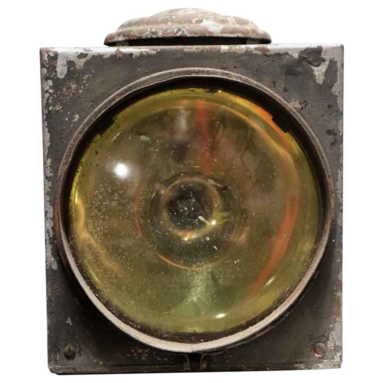 1920s Galvanized Steel Railroad Spotlight Made by Peter Gray & Sons, Boston For Sale